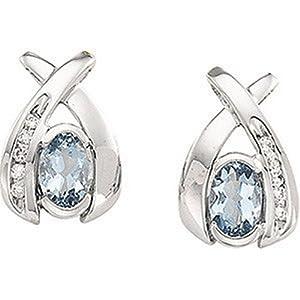 IceCarats Designer Jewelry 14K White Gold Genuine Aquamarine And Diamond Earrings. Pair 6X4/ 1/10Cttw