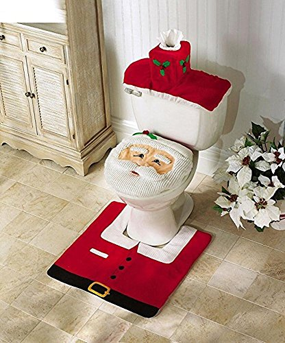 Generic Santa Toilet Seat Cover and Rug Set (One size, Santa Toilet Seat Cover)