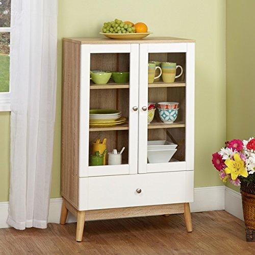 White and Natural Two-door Cabinet High 2 Door Cabinet