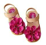 ange select マジックテープ 履きやすい 花 モチーフ 女の子 キッズ クッション サンダル 滑り止め 付き 子供 靴 (ローズ17cm)
