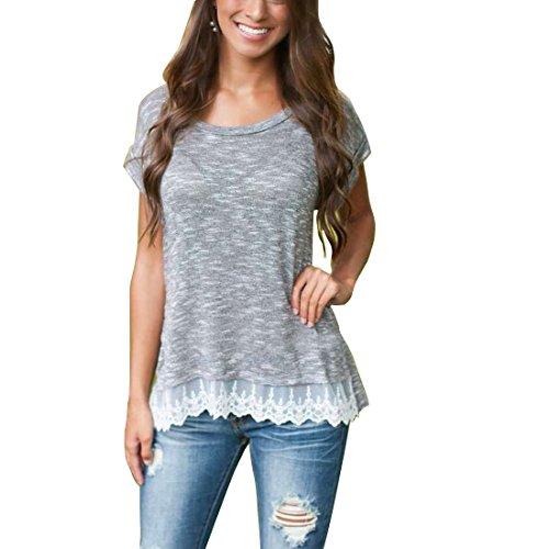 Bellezza Donna T-shirt Camicia Maniche Corte Pizzo Maglietta Ragazza Tops Estate