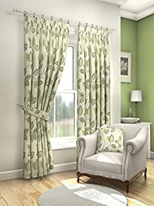"Modern Fresh Green Cream Floral Leaf Curtains Lined Pencil Pleat 46"" X 54"" #asor by PCJ SUPPLIES"
