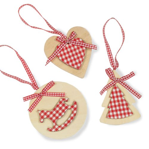 Wooden Christmas Decorations Set of 3 Heart, Tree and Rocking Horse