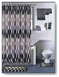 Silver & Onyx 18 Piece Bathroom Set: Shower Curtain, Rug, Contour Mat, 12 Fabric Covered Rings