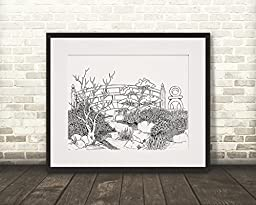Bridge Over a Stream - Personalized Wall Art 16x20 Matted DIY Giant Coloring Poster Artwork to Color or Paint & Hang (Frame Not Included)