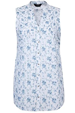 Yoursclothing Ladies Plus Size Floral Print Woven Sleeveless Blouse With Pleati by YoursClothing