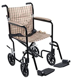 Drive Medical FW17DB Fly-Weight Transport Chair, 17 Inch, Tan Plaid