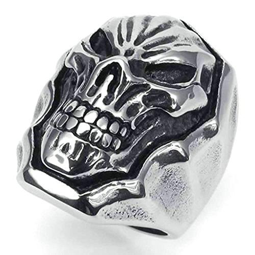 Daesar Anelli Acciaio Inossidabile Anello Uomo Teschio Gothic Punk Anello Per Uomo Argento Nero Dimensioni:27