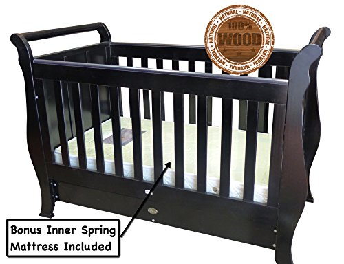 sleigh-cot-bed-quirky-bubba-baby-bed-solid-wood-dark-brown-espresso-dropside-draw-innerspring-mattre