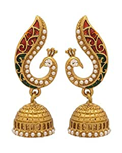 Voylla Peacock Red Gold Plated Jhumki Earrings For Women