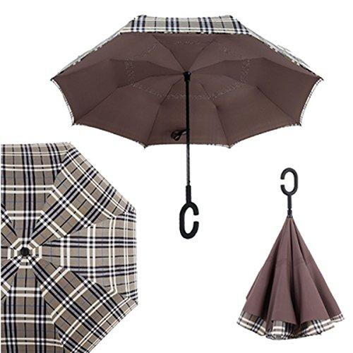 RAIN QUEEN Parapluie Canne Ouverture Inversé Double Toile Imprimé +C Poignée Grand Taille Dimension 110cm pour 2 personnes (Carreau)