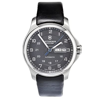 Victorinox Swiss Army Men's 241546.1 Leather Officers Automatic Analog Grey Dial Watch from Victorinox Swiss Army