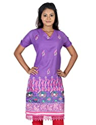 B3Fashion Designer Party Wear Semi Stitched Violet Cotton Kurti With Embroidery And Lace Work And Half Sleeve