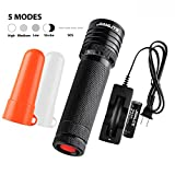 SAMLITE-Super Bright Military Quality Cree-T6 LED Tactical Flashlight, 460 Lumens With a Life Span of up To 100,000 hours, White and Red Diffuser Included, Zooming, Use as Lantern or Emergency Signal