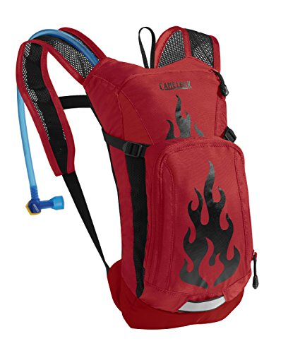 CamelBak Kid's Mini M.U.L.E. Hydration Pack, Barbados Cherry/Flames