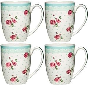 Set of 4 Large 12oz Bone China Blue Rose Mug Cup Tea ...