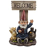 Waving Gnome Welcome Sign Statue with Turtle and Squirrel Friends