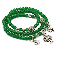 Valentine's Day Gift 2in1 Tibetan Silver Life Tree Elephant Bee Charm Birthstone Bracelet Necklace Fashion