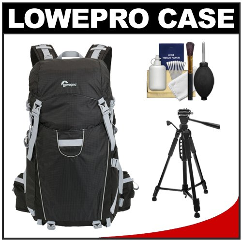 Lowepro Photo Sport 200 AW Digital SLR Camera Backpack Case (Black) + Tripod Kit for Canon EOS 70D, 6D, 5D Mark III, Rebel T3, T5i, SL1, Nikon D3100, D3200, D5200, D7100, D600, D800, Sony Alpha A65, A77, A99