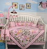 New Boutique Pink camoflage Garden 10 pcs Baby Crib Bedding Set **Reversible Into Morden Pink & Brown Polka Dot Designs !**
