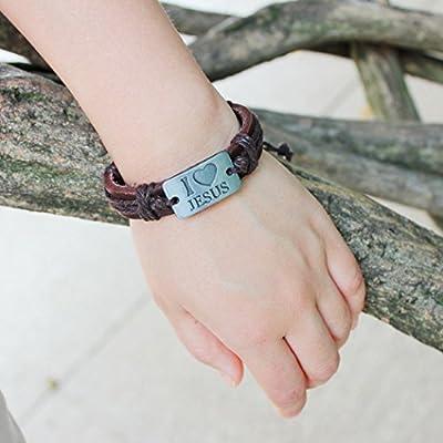 iVan Boys / Girls Fashionable Vintage Braided Leather Rope Elegant Alloy Faience Charm Bracelets