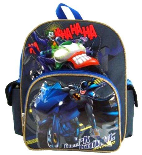 "Batman - Dark Knight 12"" Toddler Backpack - Batman on Batbike at Gotham City Store"