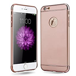 iPhone SE Case,Inspirationc® Ultra-thin 3 in 1 Anti-Scratch Anti-fingerprint Shockproof Resist Cracking Electroplate Metal Texture Armor PC Hard Back Case Cover for iPhone SE/5S/5--Rose Gold