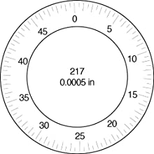 "Brown & Sharpe 14.82017 Dial Indicator, 4.0-48 Thread, 0.374"" Stem Dia., Central Lug Back, Black Dial, 0-50 Reading, 2.25"" Dial Dia., 1"" Range, 0.0005"" Graduation, +/-0.0005"" Accuracy"