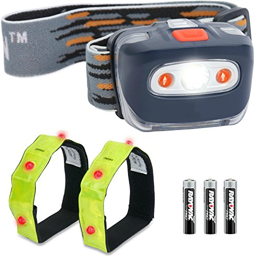 LED-Head-Torch-with-Red-LED-Lights-for-Running-Camping-Reading-Hiking-Kids-DIY-More-Super-Bright-Lightweight-Comfortable-Easy-to-Use-Head-Torches-come-with-Batteries