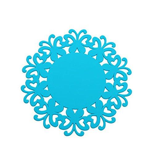 YOKIRIN PVC Untersetzer aus Filz für Tisch und Bar als Glasuntersetzer / Getränkeuntersetzer für Glas und Gläser Tischsets- Blau (Size:Large,Durchmesser:19CM)