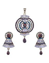 Gehna Garnet ,Blue Topaz, Lemon Topaz & Cubic Zircon Studded Pendant & Earring Set