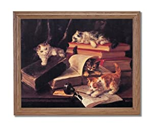 Kitty Cat Kittens Book Ink Pot Animal Wall Picture Oak Framed Art Print