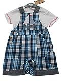 BNWT Baby Boy diseño de cuadros 2piezas todo en uno-Peto camiseta ropa Outfit azul azul Talla:6-12 meses