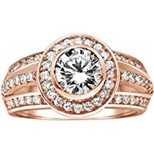 buy Rose Silver Halo Engagement Ring With Split Shank With Diamonds (1.58 Ct. Twt.)