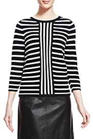 Vertical Striped Jumper with Silk [T50-2785-S]