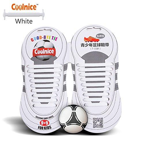 Coolnice Sport lacci elastici No Tipo Tie - forma piatta, Macchia resistente Colore Bianco, silicone ambientali sicuro - Teenager