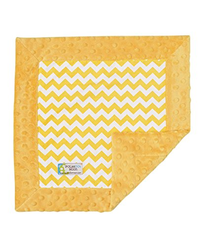 Baby LUXE Lovey/Security Blanket -Yellow Chevron on Yellow Minky - 1