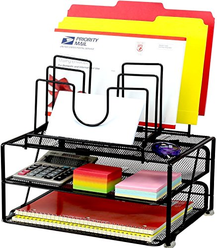 decobros-mesh-desk-organizer-with-double-tray-and-5-stacking-sorter-sections-black