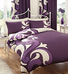 grandeur violet parure de lit 2 personnes housse de couette 230 x 220 cm 2x taie 50x75. Black Bedroom Furniture Sets. Home Design Ideas