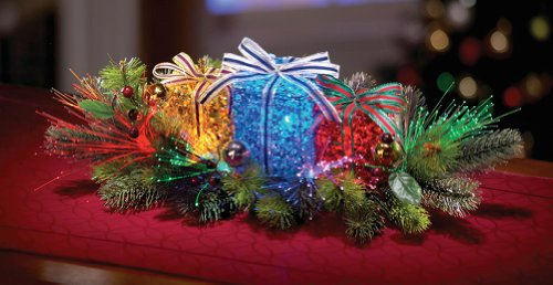 Lighted Gift Box Floral Christmas Centerpiece (Holiday Table Centerpieces compare prices)
