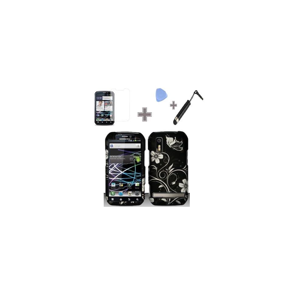 (4 Items Combo  Case   Screen Protector Film   Case Opener   Stylus Pen) Rubberized Black Silver Vine Flower Butterfly Snap on Design Case Hard Case Skin Cover Faceplate for Motorola Photon 4G MB855