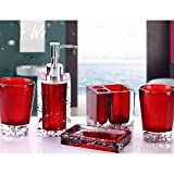 Merryfun Red Bright Resin 5pcs Bathroom Wash Bath Set Toiletries Sanitary Ware