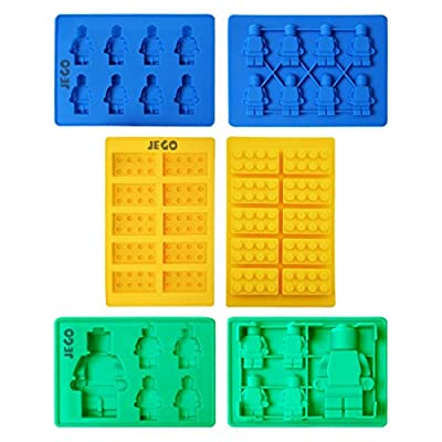 Candy Molds Gummy Bear Maker For Lego Lovers, Premium Chocolate , Ice Cube , Silicone Baking Molds, - Building Blocks , Bricks and Robots (Set of 6)