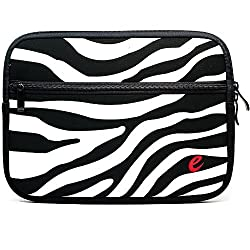 Sumaclife Black With White Zebra Design Neoprene Sleeve Carrying Case