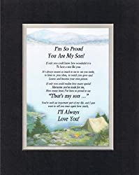 Touching and Heartfelt Poem for Sons - I'm So Proud You Are My Son Poem on 11 x 14 nches Double Beveled Matting