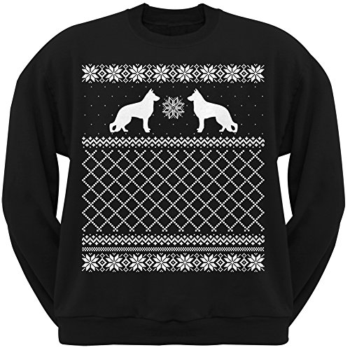 German Shepherd Black Adult Ugly Christmas Sweater Crew Neck Sweatshirt - X-Large