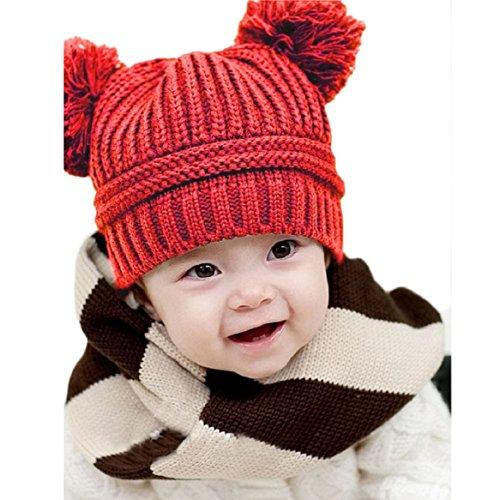 Yoyorule-Cute-Baby-Kids-Girl-Boy-Dual-Balls-Warm-Winter-Knitted-Cap-Hat-Beanie-Red