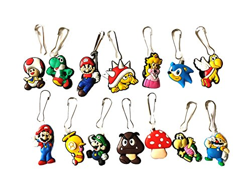 14 pcs Nintendo Super Mario Brothers # 2 Zipper Pull
