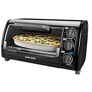 Black & Decker TRO490B 1200-Watt 4-Slice Countertop Oven and Broiler with Removable Crumb Tray, Black