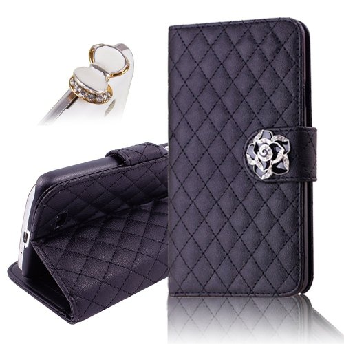 uming-camellias-series-for-htc-one-m7-with-holder-stand-folio-wallet-pu-leather-flower-lattice-grid-